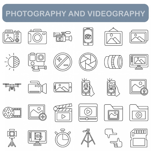 Fotografie- und videografieikonen eingestellt, entwurfsart Premium Vektoren