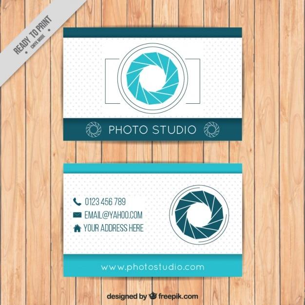 Fotografie visitenkarte in der blauen farbe Kostenlosen Vektoren