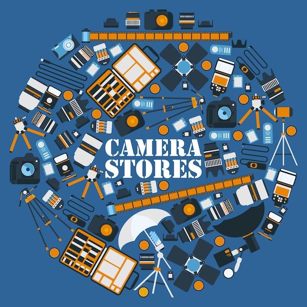 Fotografieausrüstungsikonen in der runden rahmenzusammensetzung Premium Vektoren
