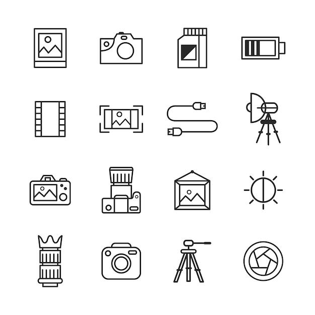 Fotografieikonensatz, entwurfsikonenart Premium Vektoren