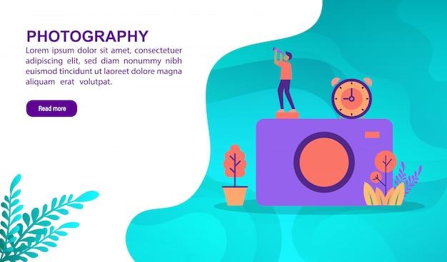 Fotografieillustrationskonzept mit charakter. zielseitenvorlage Premium Vektoren