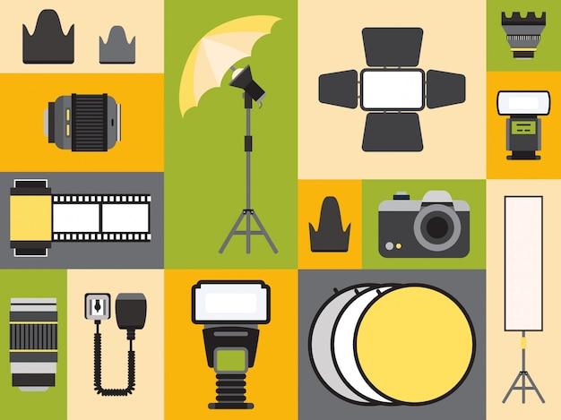Fotografieversorgungsikonen in der bunten collage, illustration. set flache aufkleber, professionelle fotoausrüstung embleme. kamera, objektiv, blitz und reflektor Premium Vektoren