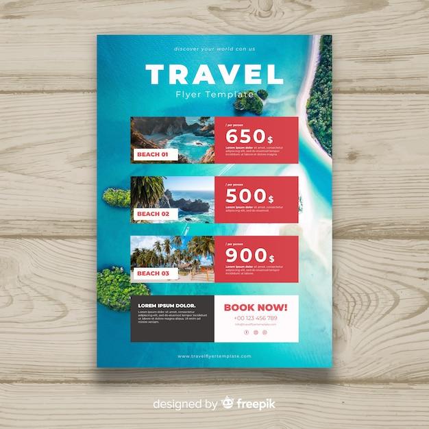 Fotografische reise-flyer-vorlage Kostenlosen Vektoren