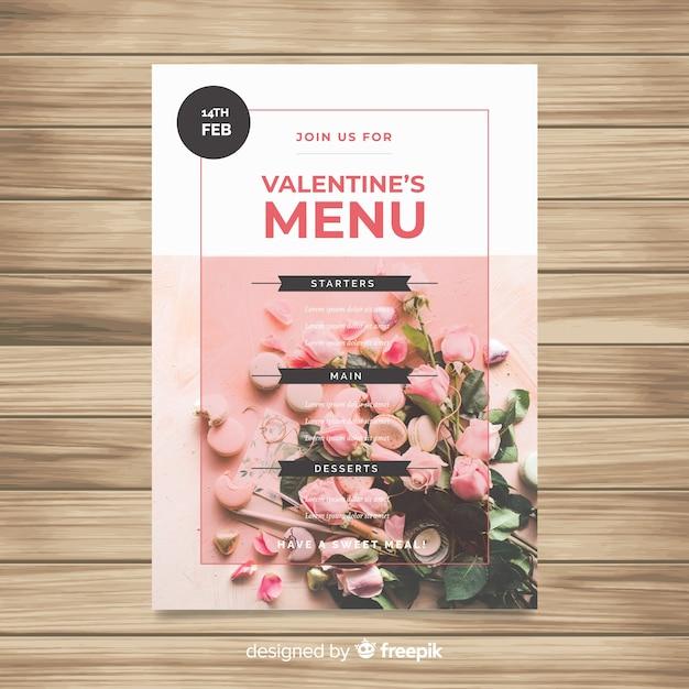 Fotografische valentinstag-menüvorlage Kostenlosen Vektoren