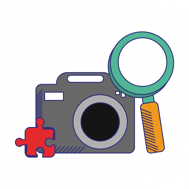 Fotokamera mit lupe Premium Vektoren