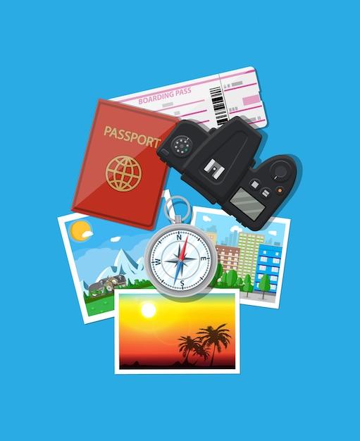 Fotokamera und fotos, reisekonzept Premium Vektoren