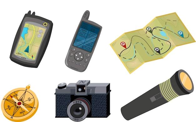 Fotokamera und taschenlampe. Premium Vektoren