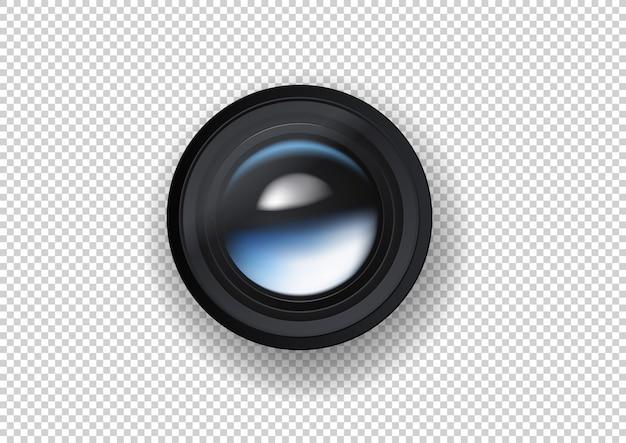 Fotokameraobjektivillustration auf dunklem hintergrund Premium Vektoren