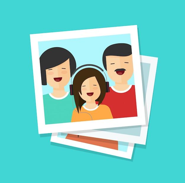 Fotokarten mit flacher karikatur der glücklichen familie Premium Vektoren