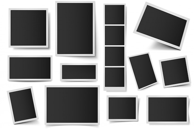 Fotokartenrahmen. rechteckige sofortbilder, quadratischer schnappschussrahmen und fotoschnappschuss mit realistischem schattensatz. leeres 3d-rahmenpaket. kunststoffränder lokalisiert auf weißem hintergrund Premium Vektoren