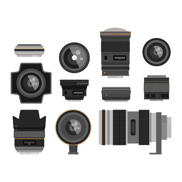 Fotooptik-objektive eingestellt Premium Vektoren