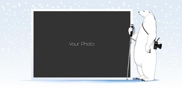 Fotorahmen-collage, sammelalbum für winter- oder weihnachtsillustration Premium Vektoren