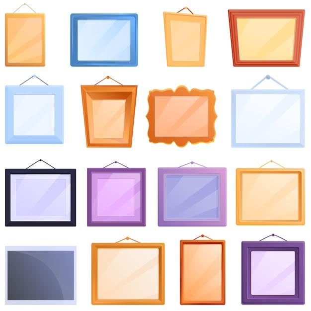 Fotorahmen-ikonensatz, karikaturstil Premium Vektoren