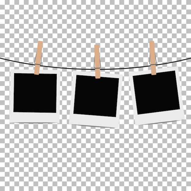 Fotorahmen mit wäscheklammer auf transparentem seil aufgehängt. vektor-illustration Kostenlosen Vektoren