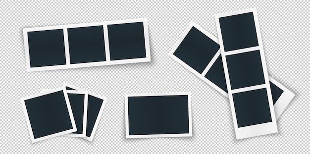 Fotorahmen-schablone stellte verschiedene formen und schatten ein. Premium Vektoren