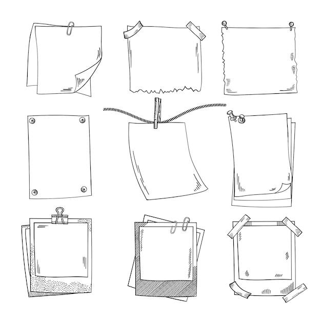 Fotorahmen und unterschiedliches leeres briefpapier. vektorsatz gekritzelbilder Premium Vektoren