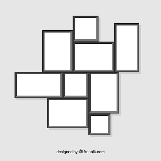 Fotorahmencollage mit flachem design Kostenlosen Vektoren