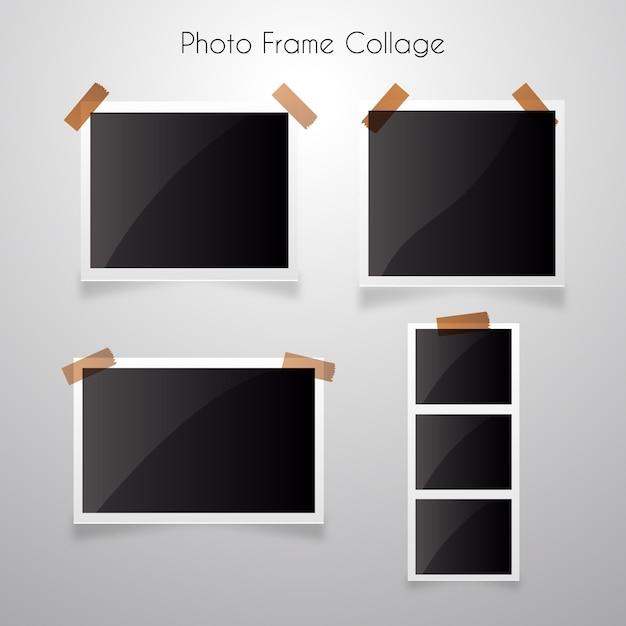 Fotorahmencollage mit realistischer art Premium Vektoren