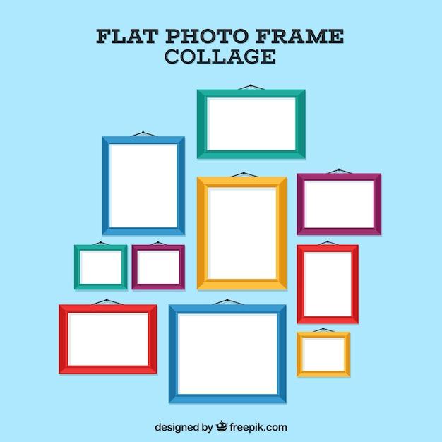 Fotorahmencollagenzusammensetzung mit flachem design Kostenlosen Vektoren