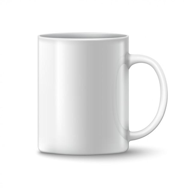 Fotorealistische weiße tasse Premium Vektoren