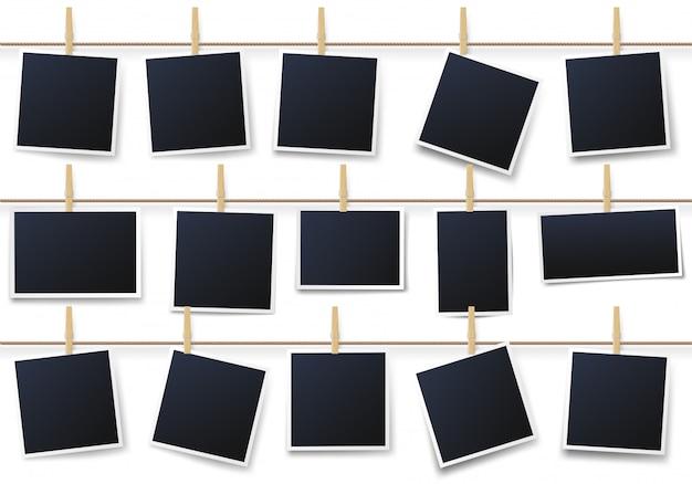 Fotos auf wäscheklammern. weinlesefotorahmen, der mit am seil hängt, druckt fotovorlagenvektorillustrationssatz Premium Vektoren