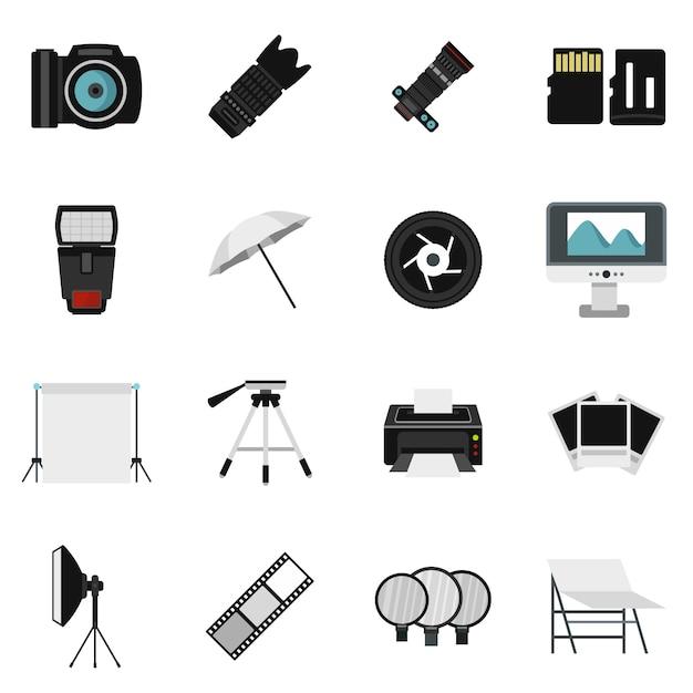 Fotostudio-ausrüstungsikonen eingestellt Premium Vektoren
