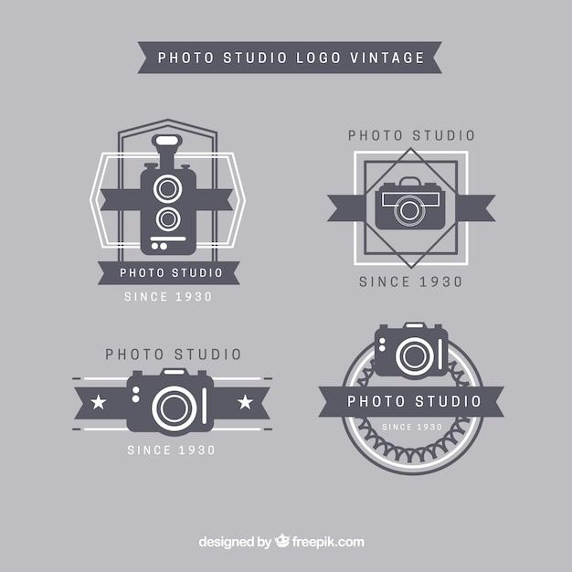 Fotostudio logos vintage-kollektion Kostenlosen Vektoren