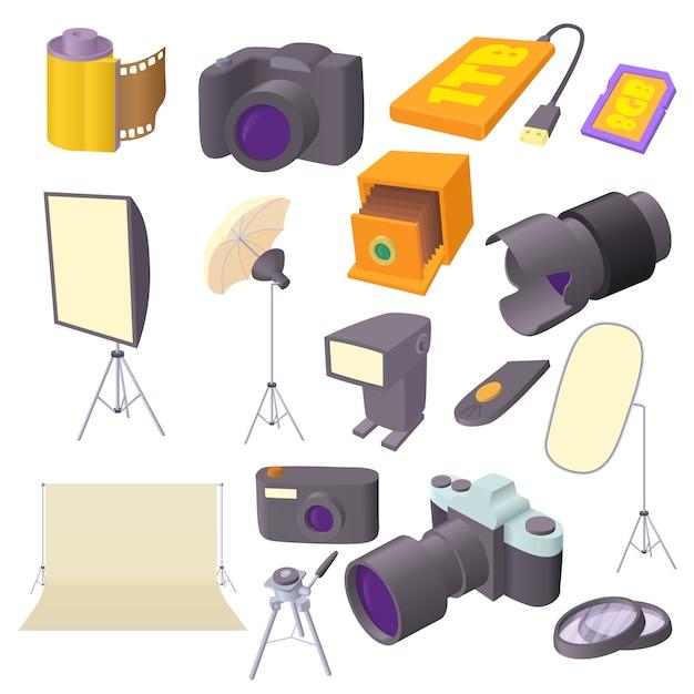 Fotostudioikonen eingestellt in karikaturart Premium Vektoren