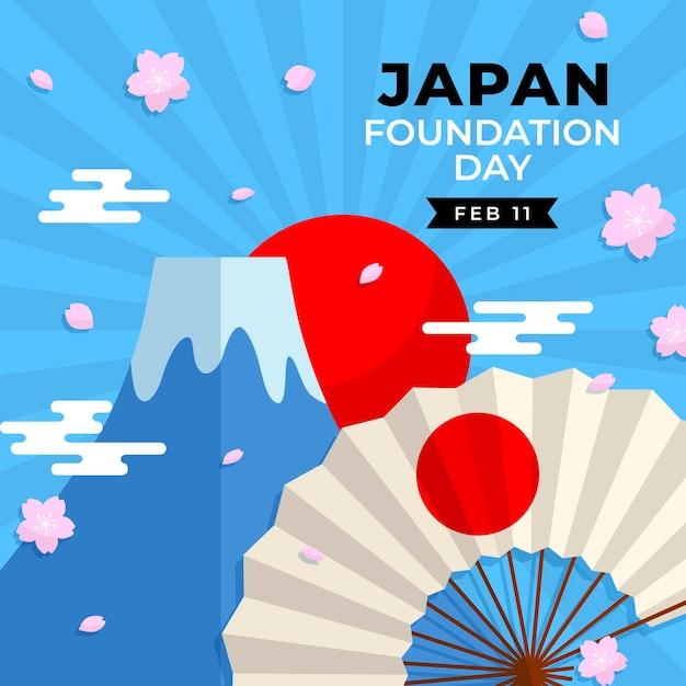 Foundation day japan mit fan Kostenlosen Vektoren