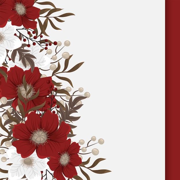 Fower page boarder - rote, hellblaue, weiße blüten Kostenlosen Vektoren