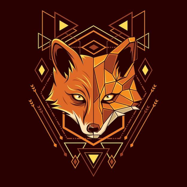 Fox head geometrie illustration Premium Vektoren