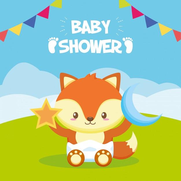 Fox mit stern und mond für babypartykarte Kostenlosen Vektoren