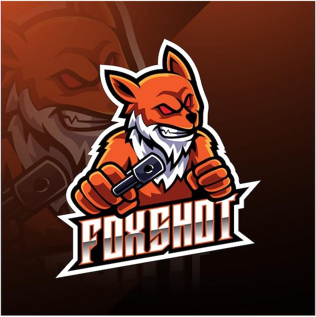 Fox shot esport logo design Premium Vektoren