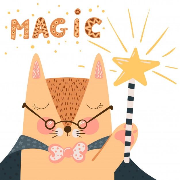 Fox - süße illustration. zauberstab und trick. Premium Vektoren