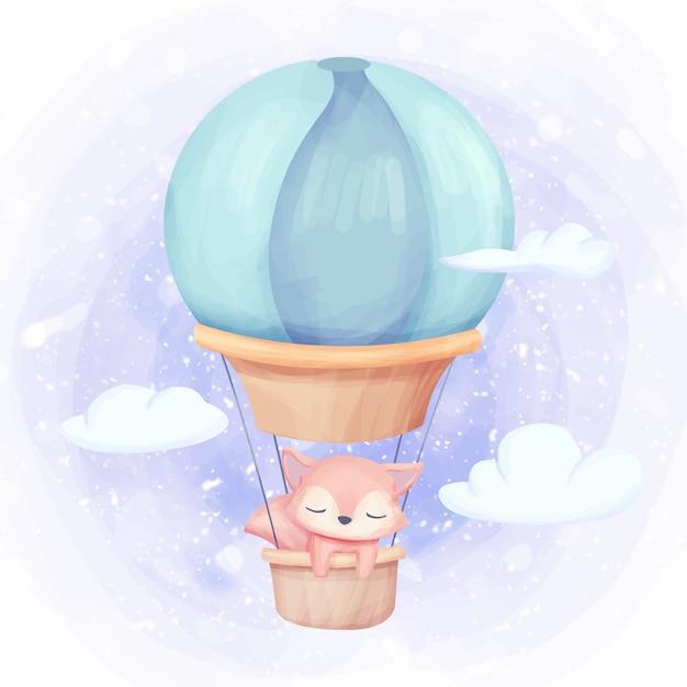 Foxy fliege zum himmel mit luftballon Premium Vektoren