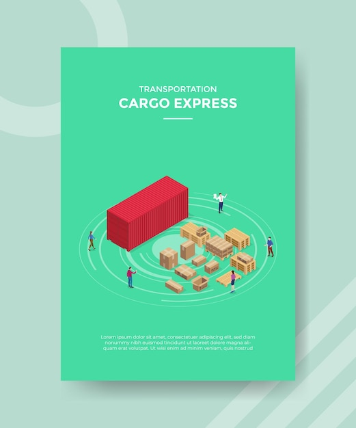 Fracht-express-konzept für vorlagenbanner und flyer zum drucken mit isometrischer stilillustration Kostenlosen Vektoren