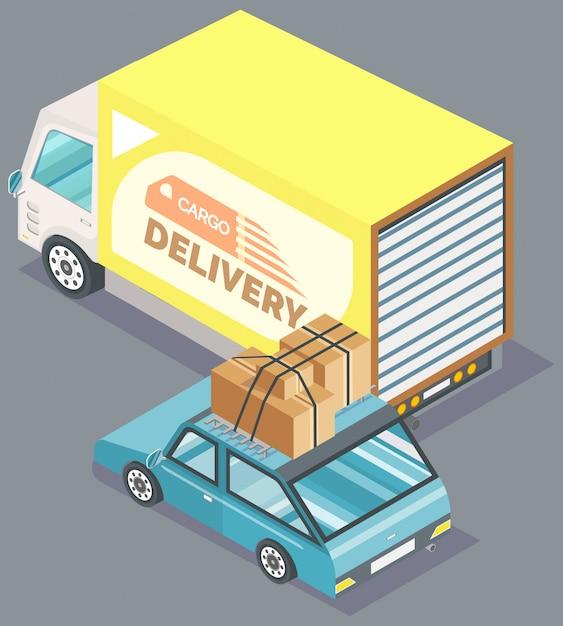 Fracht-lieferwagen und auto mit kasten-vektor Premium Vektoren