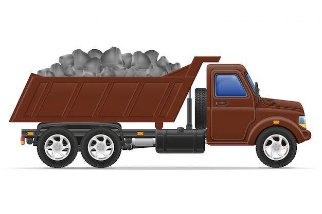 Fracht-lkw-lieferung und transport der baumaterialkonzept-vektorillustration Premium Vektoren