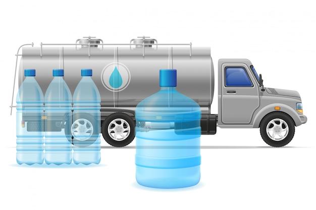 Fracht-lkw-lieferung und transport der gereinigten trinkwasserkonzept-vektorillustration Premium Vektoren