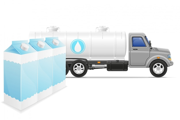 Fracht-lkw-lieferung und transport der milchkonzept-vektorillustration Premium Vektoren