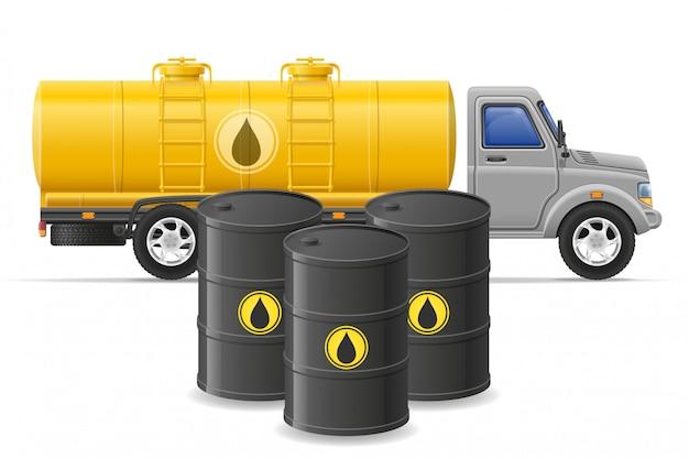 Fracht-lkw-lieferung und transport des brennstoffs für transportkonzept vector illustration Premium Vektoren