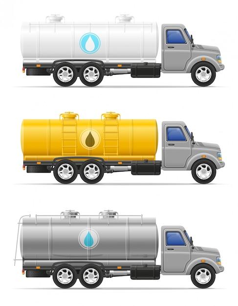 Fracht-lkw mit behälter für den transport der flüssigkeitsvektorillustration Premium Vektoren