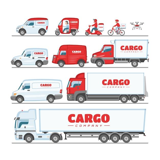 Fracht-lkw-van oder minivan-auto für lieferung oder transportfrachtillustrationssatz des modellfahrzeugs, das last auf weißem hintergrund liefert oder transportiert Premium Vektoren