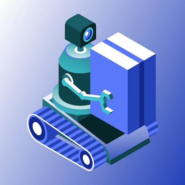 Fracht- oder transportroboter im farbverlauf Premium Vektoren