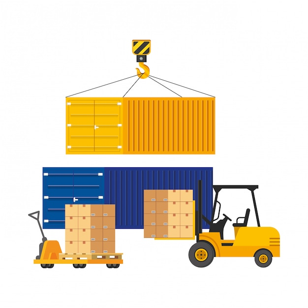 Frachtbehälter mit handwagenillustration Premium Vektoren
