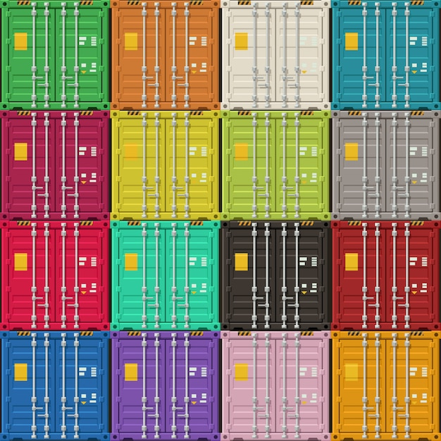 Frachtcontainer ansichten zu türen Premium Vektoren