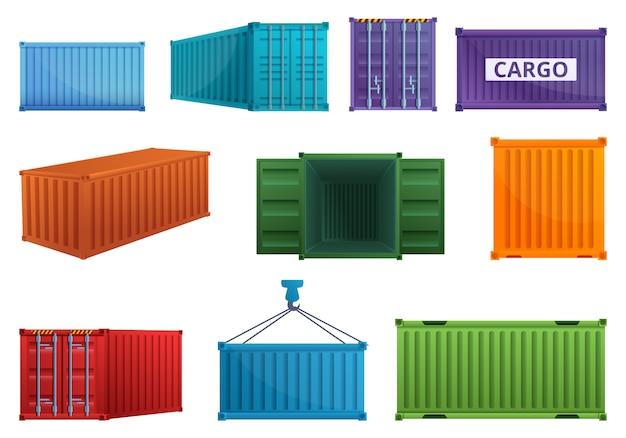 Frachtcontainerikonen eingestellt, karikaturart Premium Vektoren