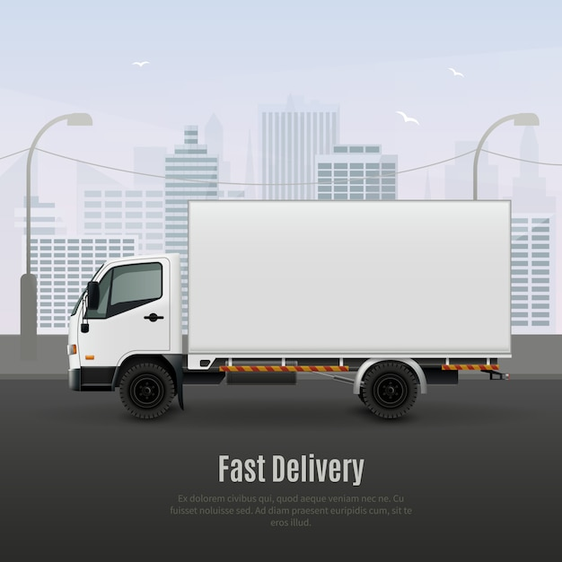 Frachtfahrzeug für eine schnelle lieferung, realistische zusammensetzung Kostenlosen Vektoren