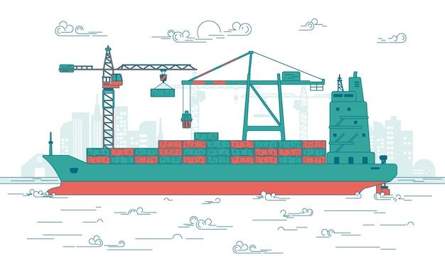 Frachthafen Premium Vektoren