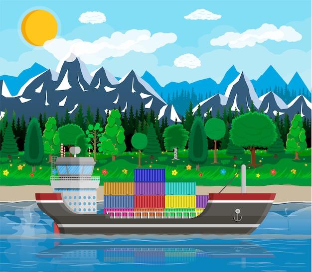 Frachtschiff, container, stadtbild. hafenlogistik Premium Vektoren
